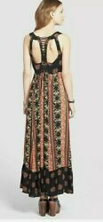Free People Maxi women#x27; dress Sz 4 quot;You Made My Dayquot; Coal Combo Floral Boho B3 $55.00