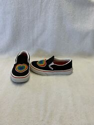 Vans Off The Wall Girls Black rainbow Heart Shoes size 12.5 C $18.00