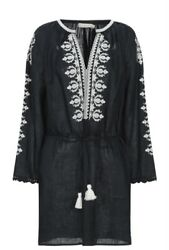 TORY BURCH EMBROIDERED COVER UP CAFTAN TUNIC DRESS BLACK IVORY LINEN SZ M $358 $154.99