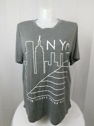 Mighty Fine Trendy Plus Size NYC Graphic Tee Shirt 2X Heather Grey #2953 $11.99