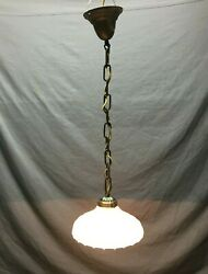 Antique Victorian Hanging Scallop Ceiling Light Fixture Glass Shade Old 208 21B $135.00