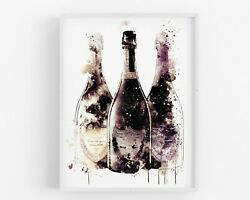 Champagne Wall Art Kitchen Print Dining Print Bar Wedding Home Decor Gift GBP 17.00