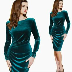 Women Winter Long Sleeve Elegant Velvet Casual Party Plus Size Dress $40.99