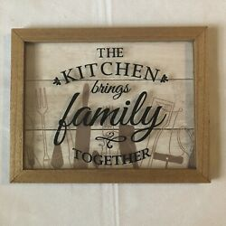 Kitchen Decor Wall Sign 9.5 x 12 The Kitchen Brings Family Together $3.00