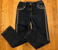 hanna andersson Embroidered Girls Jeans Size 130 8 Adjustable Waist $6.95