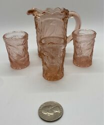 Pink Glass Vintage Miniature Set Pitcher and 3 Glasses Peacock and Flowers $9.95