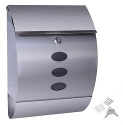Stainless Steel Wall Mount Mail Box w Retrieval Door amp; Newspaper Roll Mailbox $56.90