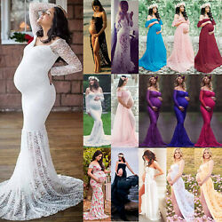 Pregnant Womens Maternity Lace Long Maxi Dress Photography Gown Photo Shoot Prop $17.85