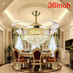 Crystal Lighting 36quot; LED Gold Invisable Ceiling Fan Lamp Remote Chandeliers LC U $119.99