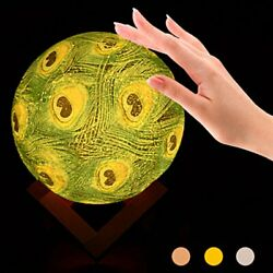 3D Moon Light Touch controlled Painted Three color Night Light Livingroom Decor $19.83