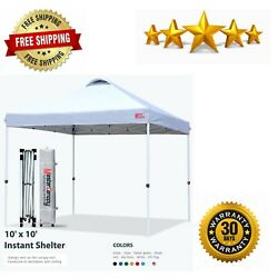 Pop up Canopy Tent Commercial with Wheeled Bag Sandbags x4 Stakesx4 10#x27;x10#x27;White