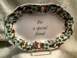 Rare 2008 SPODE CHRISTMAS quot;For a Special Friendquot; Holiday Dish Beautiful Border $24.95