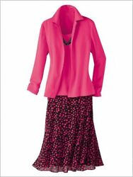 Draper#x27;s amp; Damon#x27;s Dot Dressing Three Piece Skirt Set Size 20W NEW Black Pink $34.99