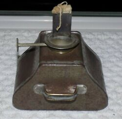 Early 19th Century Miniature Tin Oil Lamp Finger Hold Unique Triangular Shape $99.00