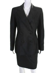 Badgley Mischka Womens Double Breasted Pencil Skirt Suit Black Size 8 $72.01