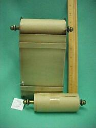 New Desk Top Desktop Note Paper Roll Antique Brass Holder w 2 Note Rolls NOS $8.00