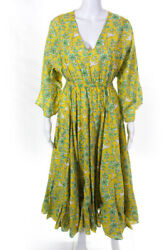 Rhode Womens Floral Print V Neck Sun Dress Yellow Green Size Extra Small $199.99