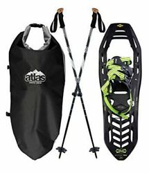 Atlas Helium Trail 23 Kit Snowshoes Black with Green Includes Bag and Two Poles $199.98