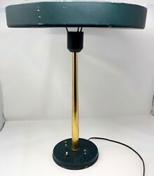 Vintage mid century Green and Brass desk lamp $230.00