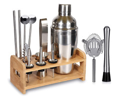 15 Piece Bartender Kit Cocktail Shaker Gift Set with Stand Home Bar Set $32.99