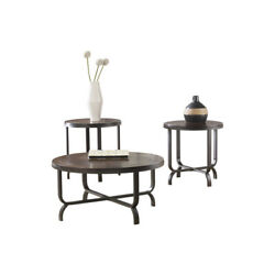 Round Wooden Table Set With Crossbar Metal Base Set Of Three Brown And Black $686.90