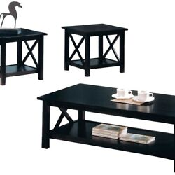 Wooden Table Set With X Design On Sides Pack Of Three Dark Brown $393.60