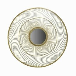 Saltoro Sherpi Spiral Design Round Bamboo Wall Mirror With Rope Weaving Brown $247.26