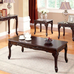3 Piece Occasional Wooden Table Set With Engraved Details Cherry Brown $476.56