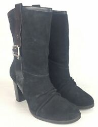 Nine amp; Co. 10 M Womens Boots Black Suede Leather Short Fashion Heels $15.99