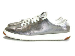 Cole Haan Sneakers Silver White Leather Grandpro Tennis Women Size 9 W09697 $24.99