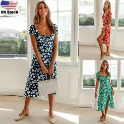 Women Boho Floral Square Neck Midi Dress Ladies Summer Short Sleeve Beach Dress $5.69