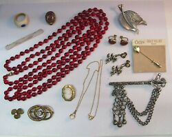 LOT ANTIQUE VICTORIAN amp; VINTAGE JEWELRY Flapper Glass Cameo Sterling Gold Filled $69.00