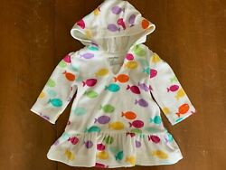 BABY GAP TERRY CLOTH SWIM HOODED COVER UP WHITE MULTI FISH 3 6 MONTHS RUFFLE $6.50
