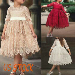 Lace Flower Girls Kids Dress Bridesmaid Wedding Party Prom Princess Summer Gown $15.67