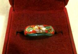 VINTAGE ANTIQUE RED ENAMEL CHINESE GOLD RING $20.00