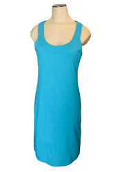 New York amp; Co Teal Blue Sleeveless Knit Fitted Casual Dress Size S $14.99