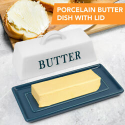 Porcelain Covered Butter Dish with Handle Lid Ceramic Holder Container Plate $15.99