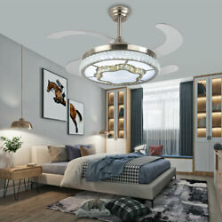 42quot; Crystal LED Chandelier Invisible Ceiling Fan Light Ceiling Lamp w Remote $138.20