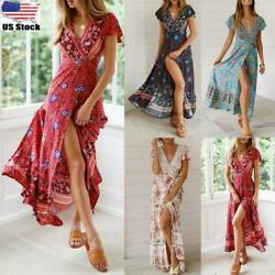 Women Summer Boho Floral Long Dress Ladies Holiday Beach Short Sleeve Sun Dress $9.49