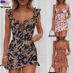 Women Ladies Boho Floral Summer Mini Dress Holiday Beach Strappy Sun Dresses $21.09