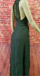 ZARA MAXI WOMEN#x27;S DRESS LACE CROCHET EMBROIDERED BIB GREEN Size SMALL NWOT $35.00