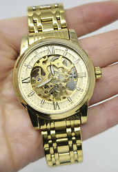 BiDen Skeleton Automatic Winding Mechanical GOLD STAINLESS STEEL Men#x27;s Watch $29.99