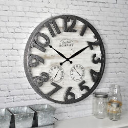 Large Outdoor Wall Clock w Thermometer Hygrometer Rustic Industrial Light Gray $43.12