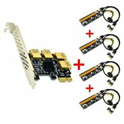 New 4 Slot USB 3.0 PCI E Express 1x to 16x Riser Card Adapter PCIE Multiplier $66.89