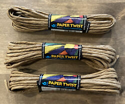 Lot of 3 Maxwell#x27;s Twisted Craft Paper String Floral Party Natural Tan $9.99
