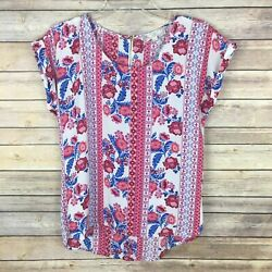 Pink Rose Women#x27;s Blouse Size Small Red Blue Floral Short Sleeve $11.89