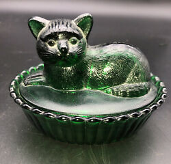 Vintage Hunter Green Glass Westmoreland Covered Cat Dish $24.95