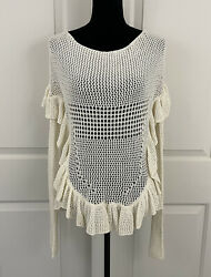 Angel Of The North Womens XS Ivory Ruffle Open Knit Crochet Sweater $25.00