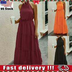 Womens Ladies Sleeveless Halter Pleat Maxi Dress Casual Backless Gown Long Dress $14.99