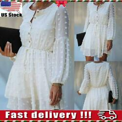 Women Button Lace Ruffle Frill Mini Dress Ladies Long Sleeve Swing Party Dresses $13.99
